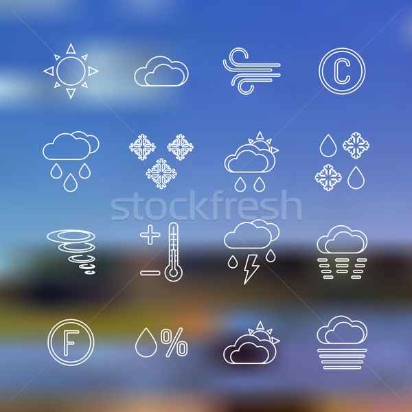 white outline forecast icons set landscape background