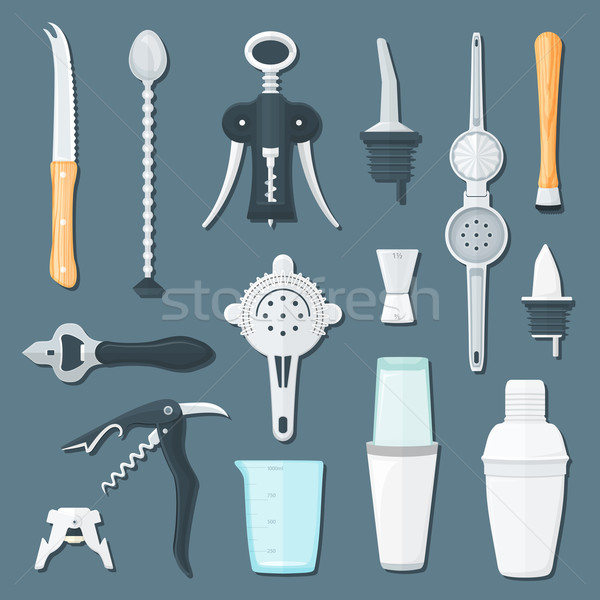 barman equipment flat illustration set
