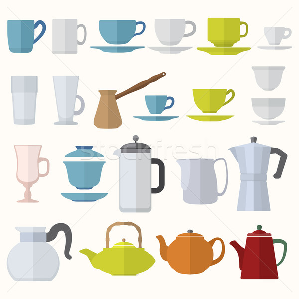 flat style dinnerware cups mugs and pots set Stock photo © TRIKONA