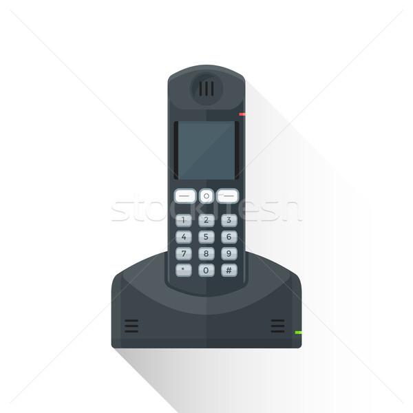 vector flat style black landline wireless phone illustration ico Stock photo © TRIKONA