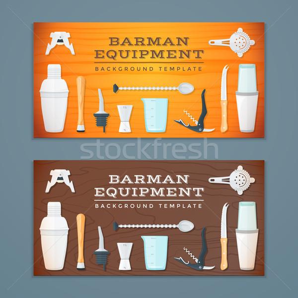 barman tools banner backdrops templates Stock photo © TRIKONA