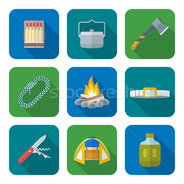 flat style colored various camping icons collection