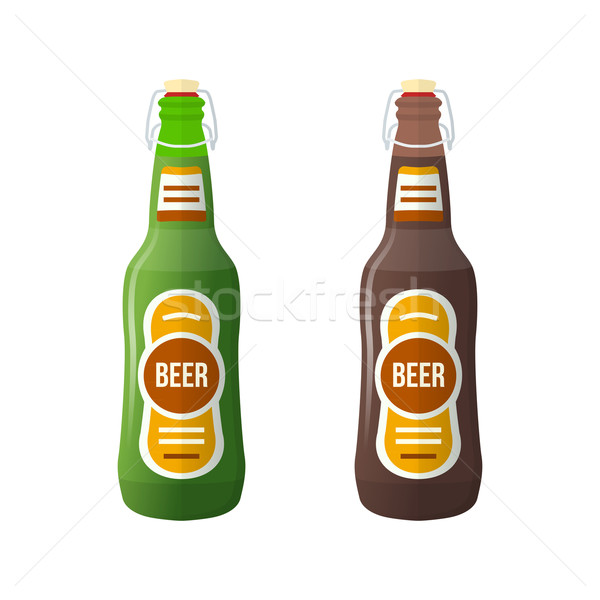 colored flat couple beer bottles lightning stopper illustration