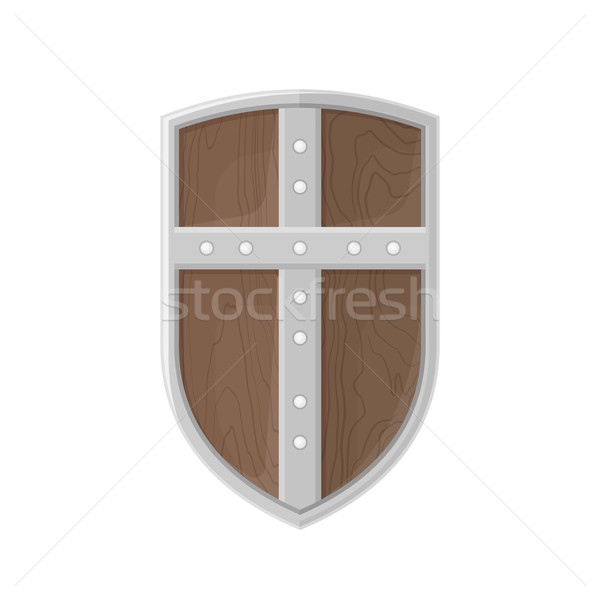 flat style colored medieval shield with cross icon illustration Stock photo © TRIKONA