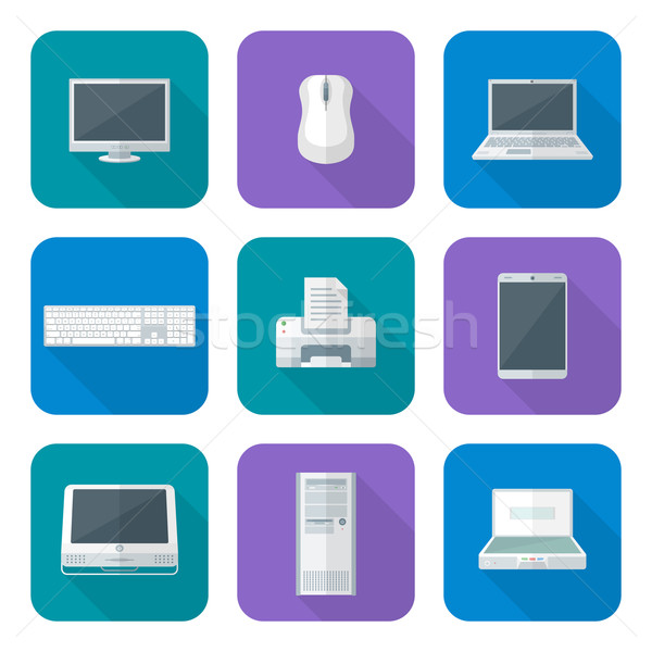 Stock photo: colored computer gadgets icons flat