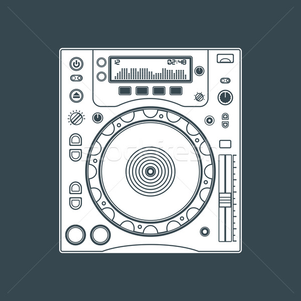solid color dj cd player device illustration