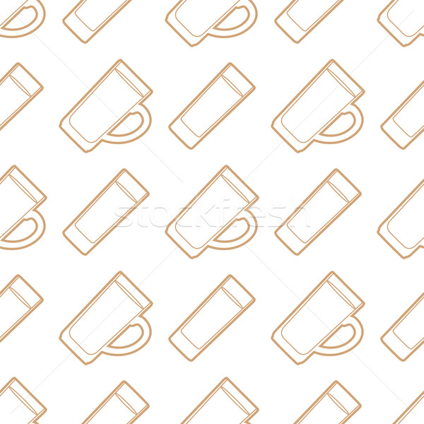 outline beer mugs glasses seamless pattern Stock photo © TRIKONA