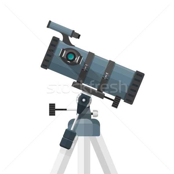 vector flat reflecting telescope illustration