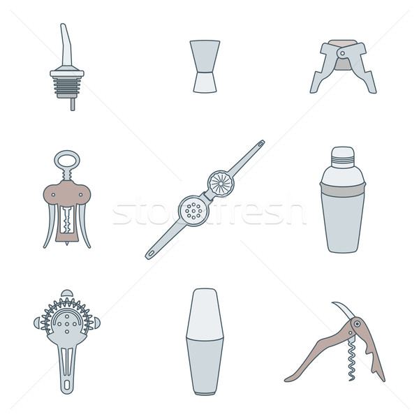 color outline icons barman instruments set Stock photo © TRIKONA