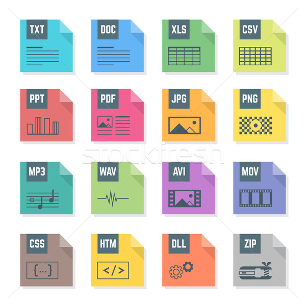 various color file flat style formats icons set with illustrations Stock photo © TRIKONA
