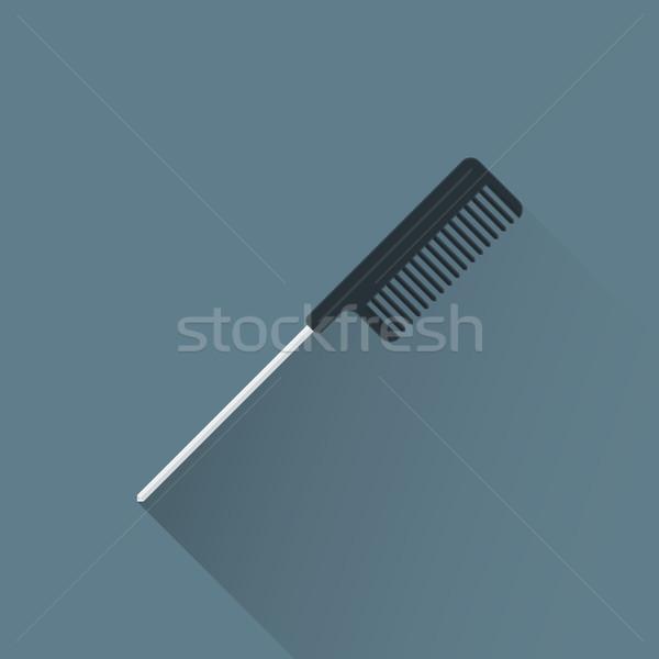 Vector kapper kam illustratie icon gekleurd Stockfoto © TRIKONA