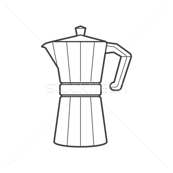 outline metal faceted coffee pot illustration