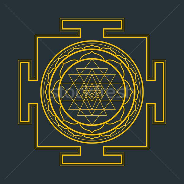 monocrome outline Sri yantra illustration Stock photo © TRIKONA