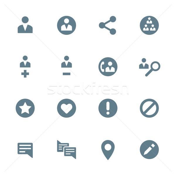solid grey various social network actions icons set Stock photo © TRIKONA