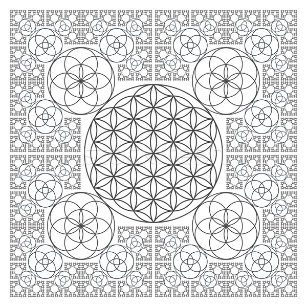 circle outline flower of life fractal sacred geometry