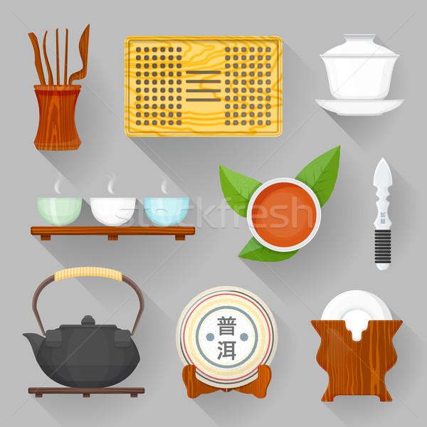 Сток-фото: чай · церемония · оборудование · иллюстрация · набор · вектора