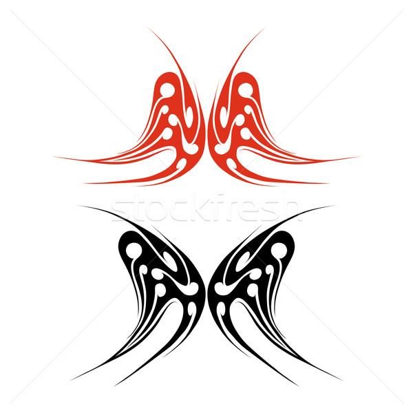 Papillon tatouage rouge noir blanche nature Photo stock © TRIKONA