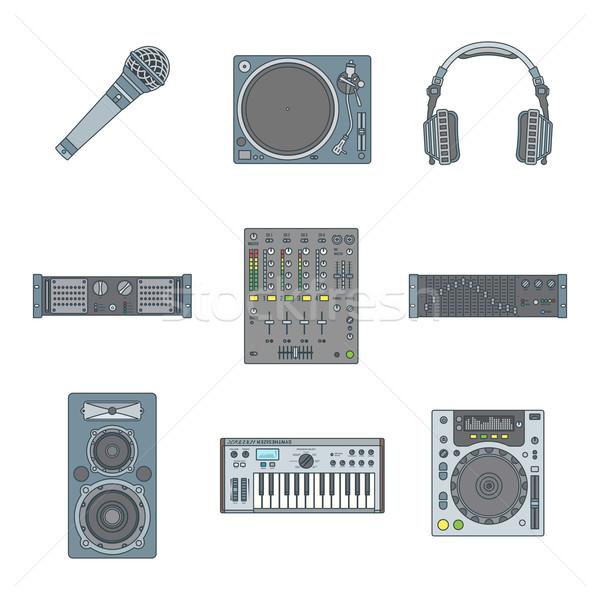 various color outline sound devices icons set Stock photo © TRIKONA
