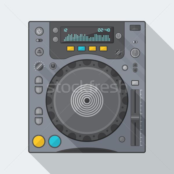 стиль компакт-диск игрок икона тень вектора Сток-фото © TRIKONA