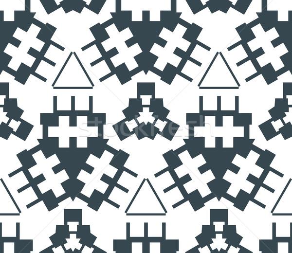 dark monochrome color angular abstract geometric seamless patter Stock photo © TRIKONA