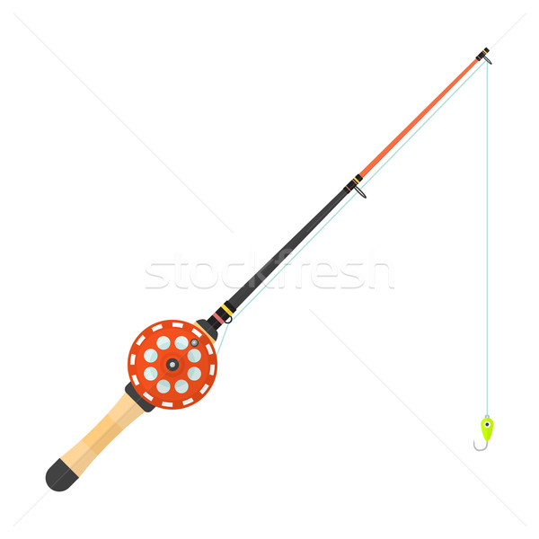 vector flat style winter fishing rod illustration