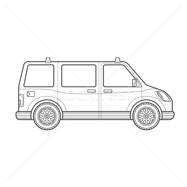 outline van car body style illustration icon