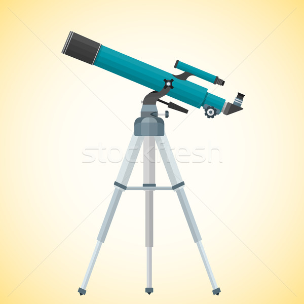 vector flat refracting telescope illustration