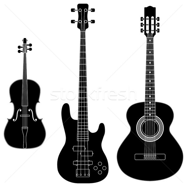 String gitaar silhouet geluid band Stockfoto © tshooter