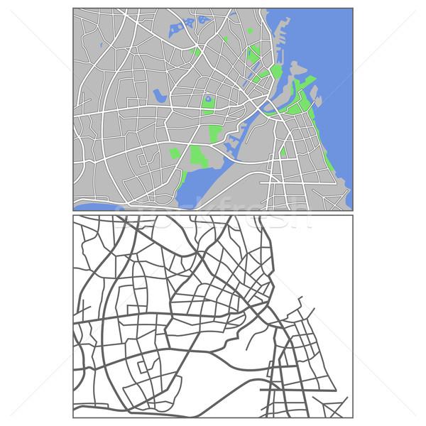 Копенгаген карта фон зеленый городского Сток-фото © tshooter
