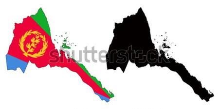 Erytrea Pokaż banderą niebieski czerwony czarny Zdjęcia stock © tshooter