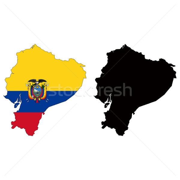 エクアドル 地図 フラグ 青 赤 国 ストックフォト © tshooter