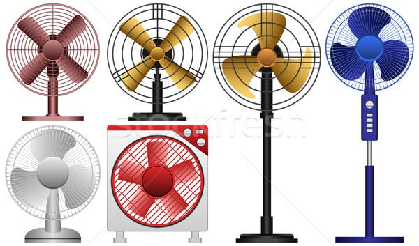 Elektrische fans verschillend metaal tabel Stockfoto © tshooter