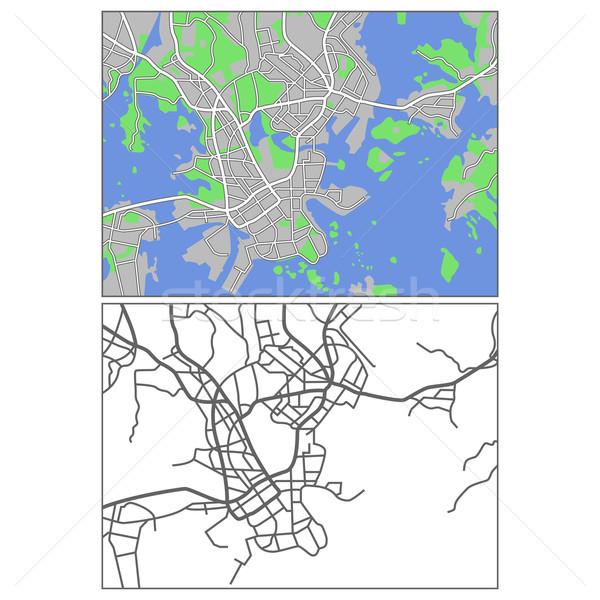 Helsinki kaart stad straat achtergrond Stockfoto © tshooter