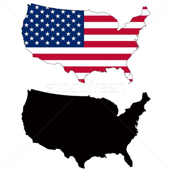 Verenigde Staten kaart vlag zwarte land cijfer Stockfoto © tshooter