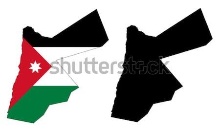 Jordania Pokaż banderą podróży czerwony czarny Zdjęcia stock © tshooter