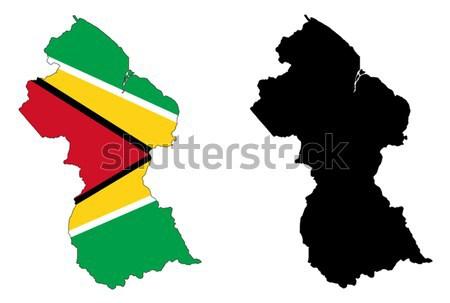 Гайана карта флаг путешествия стране профиль Сток-фото © tshooter