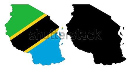 Tansania Karte Flagge blau Reise schwarz Stock foto © tshooter