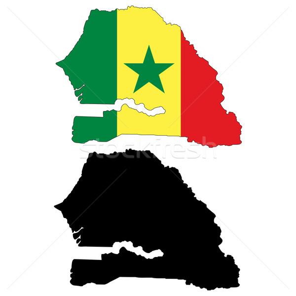 Senegal mappa bandiera viaggio africa nero Foto d'archivio © tshooter