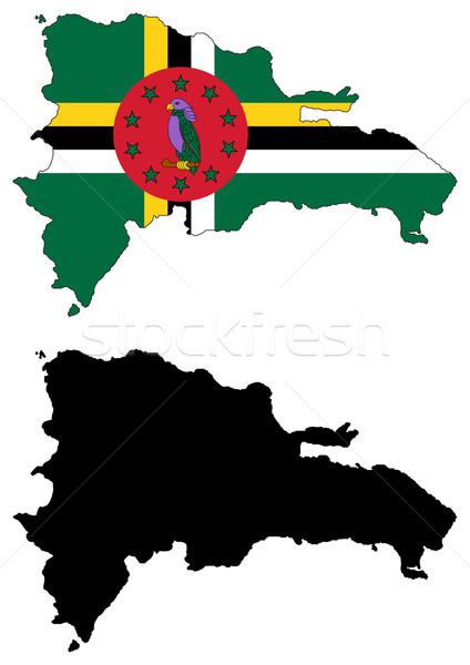 Dominica mapa bandeira pássaro verde traçar Foto stock © tshooter