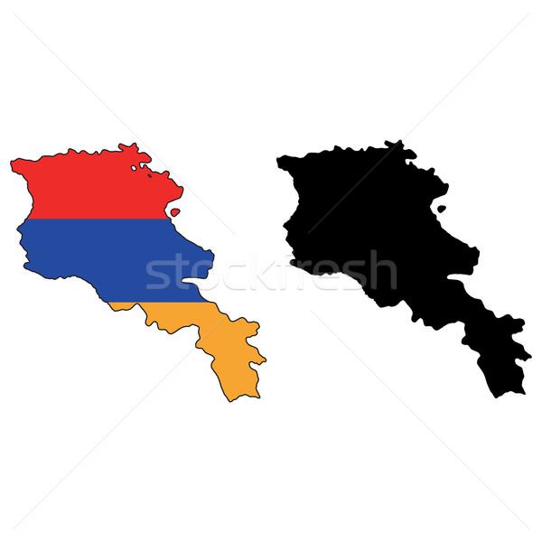 Armenië kaart vlag Blauw land profiel Stockfoto © tshooter