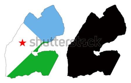 Dżibuti Pokaż banderą niebieski czerwony czarny Zdjęcia stock © tshooter