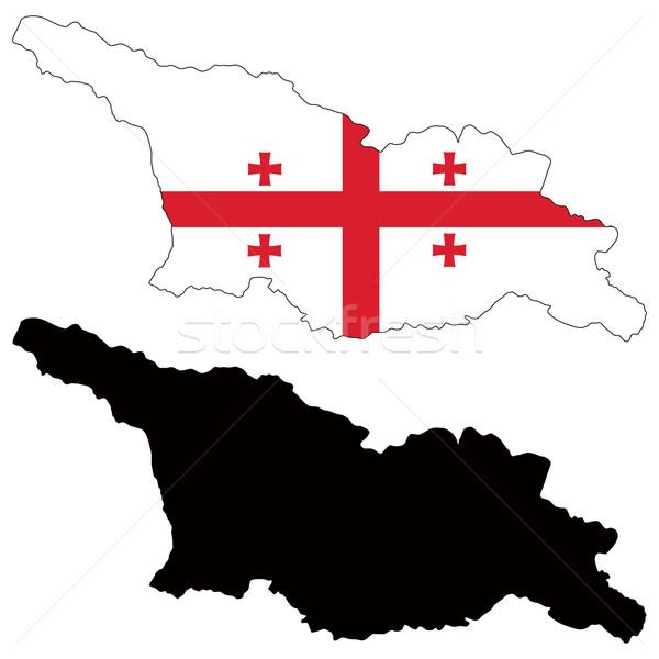 Грузия карта флаг крест стране Азии Сток-фото © tshooter