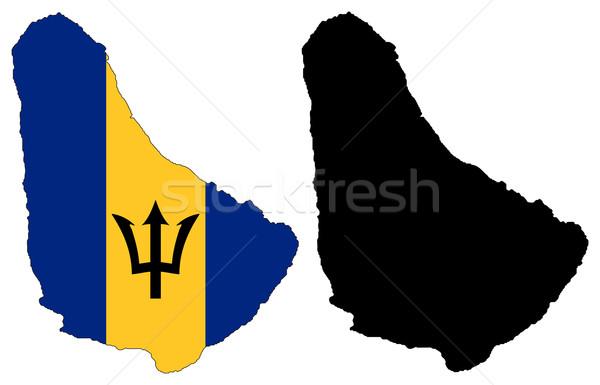 Barbados kaart vlag Blauw zwarte land Stockfoto © tshooter