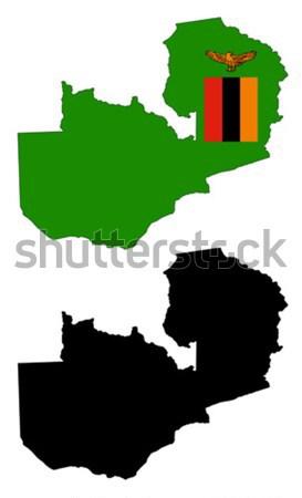 Замбия карта флаг синий путешествия черный Сток-фото © tshooter