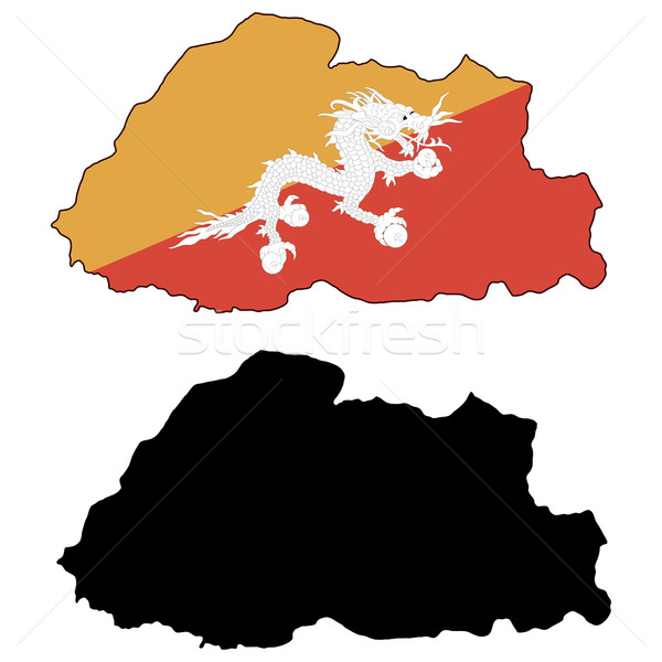Butão mapa bandeira mundo terra viajar Foto stock © tshooter