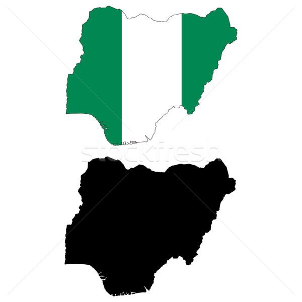 Nijerya harita bayrak Afrika siyah grafik Stok fotoğraf © tshooter