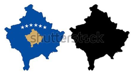 Kosovo mapa bandeira azul viajar estrela Foto stock © tshooter
