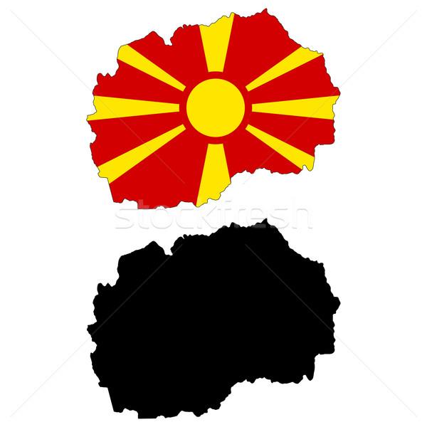 Македонии карта флаг солнце путешествия стране Сток-фото © tshooter