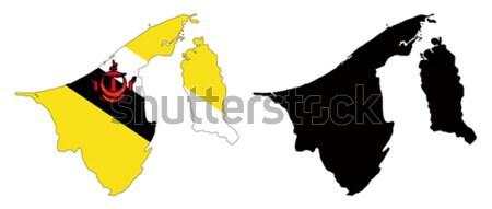 Brunei kaart vlag land asia profiel Stockfoto © tshooter