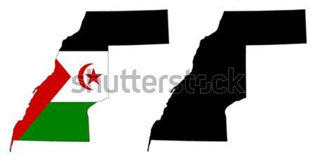Westerse sahara kaart vlag reizen star Stockfoto © tshooter
